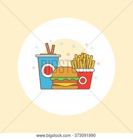 Colorful Fast Food Vector Isolated On White Background. Fast Food Hamburger Dinner And Restaurant, T