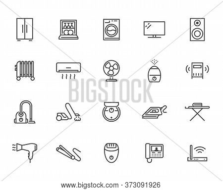 Household Appliance Line Icon Set. Washing Machine, Humidifier Robot Vacuum Cleaner, Curling Iron Mi