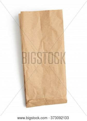 Empty Paper Disposable Bag Of Brown Kraft Paper Isolated On White Background, Concept Of Rejection O