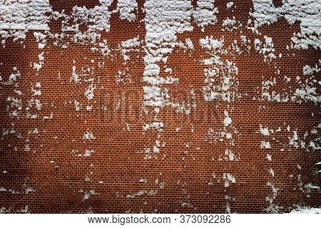 Red Brick Wall Texture Grunge Background With Vignetted, Brickwall With Snow On Side. Building Block