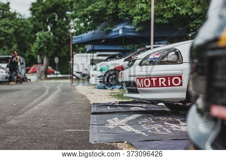 Skradin, Croatia, June 2020 Honda Civic Racecar Parked In The Paddock. Yearly Event Of Skradin Hill