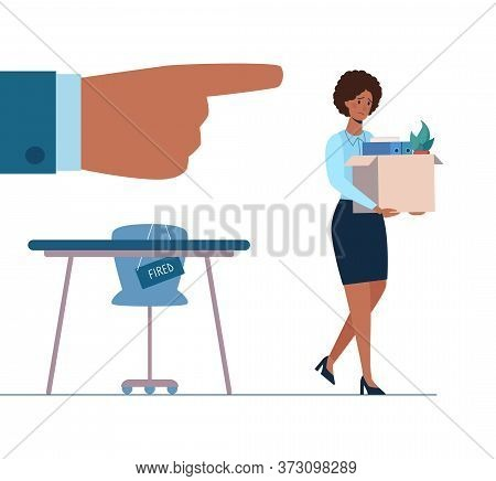 Fired African Person Leaves The Office With A Box In His Hands. Black Woman Without Work. Job Loss D