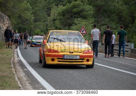 Skradin Croatia June 2020 Yellow Red Peugeot 306 Racecar Descending From A Hill After A Race