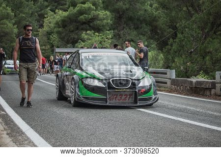 Skradin Croatia June 2020 Seat Leon Rally Version In Black And Green Colors Descending From A Hill D