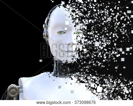 3d Rendering Of The Head Of A Female Robot. The Head Is Breaking Apart Into Pixels Or Windows. Black