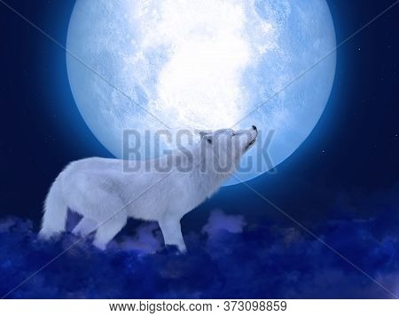 3d Rendering Of A Majestic White Wolf Standing In Front Of A Big Moon. Stars In The Night Sky, Blue