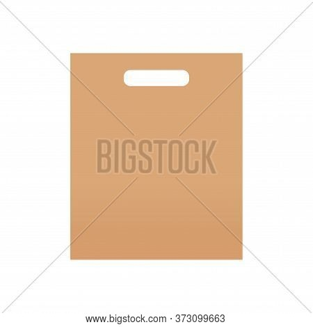 Brown Kraft Paper Bag Blank Isolated On White, Template Of Eco Bag Kraft Paper Brown Package