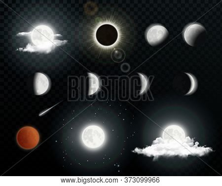 Realistic Moon Phases With Clouds On Transparent Background. Solar Eclipse. Lunar Eclipse. Vector Il