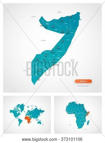 Editable Template Of Map Of Somalia With Marks. Somalia On World Map And On Africa Map.