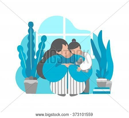 Vector Illustration Concept With Tired Sad Lonely Mother. Daughter Hugs Her. Postpartum Depression,