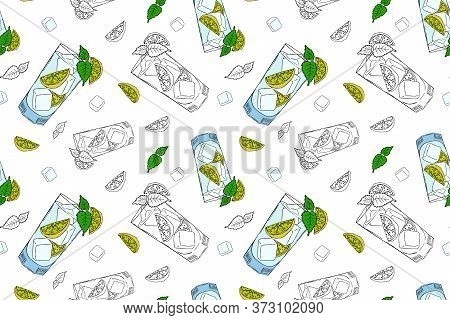 Seamless Pattern With Mojito Cocktail With Ice Cubes, Leaves Mints And Lime. Vector Illustration In