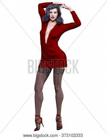 Beautiful Woman In Red Short Evening Mini Dress.