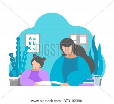 Vector Illustration In Flat Style. Mother And Child Sit In Room, Learn Read Book. Education In Quara