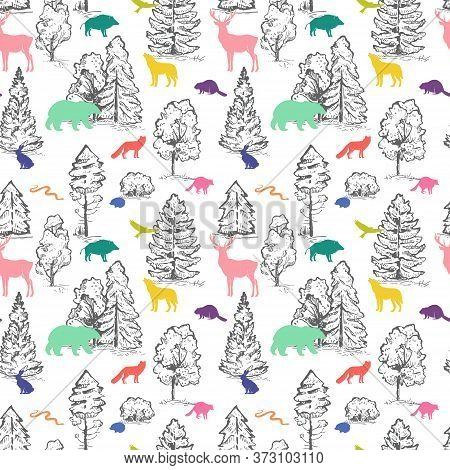 Stylish Vector Seamless Pattern With Sketch Trees And Flat Animals. Wild Colorful Animals Silhouette