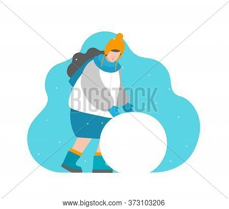Cute Vector Isolated Concept In Flat Style. Girl Are Rolling Ball To Sculpt Snowman. Winter Holiday,