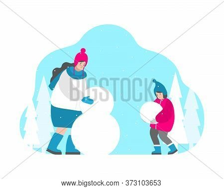 Vector Isolated Flat Illustration For Greeting Card. Happy Mom Sculpts Snowman And Cute Baby Girl He