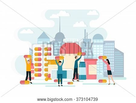 Health Treatment Concept. Vector Illustration Of People Characters Holding Pill Capsules, Vitamin Su