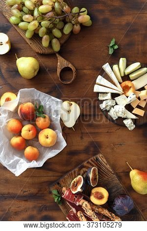 Wine Snacks Fruit Jamon Cheese Top View Wooden Table