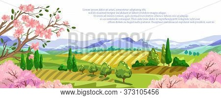 Vector Panoramic Horizontal Banner With Mountains, Trees In Bloom, Hills, Cypress And Space For Your
