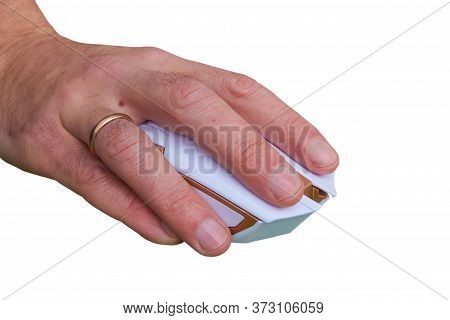 Hand On Computer Mouse Isolated, Working On A Wireless Computer Mouse On A White Background, Hand Cl