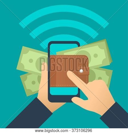 E-wallet Online Transaction Concept - Hands Holding Smartphone With Augmented Reality Screen - Leath