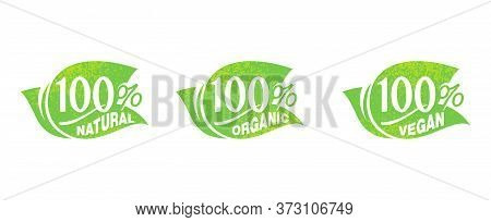 100 Natural, 100 Organic, 100 Vegan Grungy Sticker - Tag For Healthy Food, Vegetarian Nutrition In L