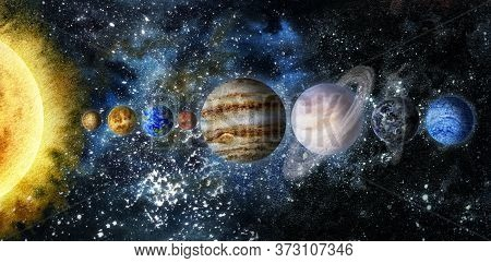 Space Hand Drawn Watercolor Background Illustration. Sun, Mercury, Venus, Earth, Mars, Jupiter, Satu