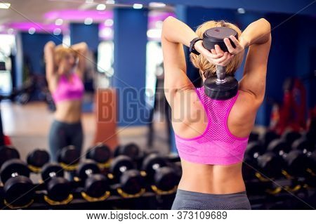 Woman Training Triceps With Dumbbells In The Gym. People, Fitness And Healthcare Concept