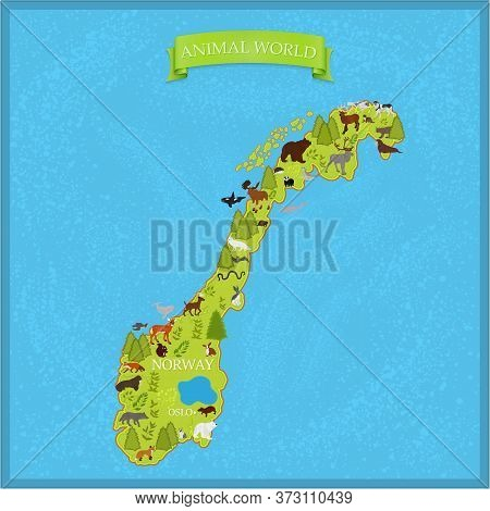 Map Of Norway With Animals On A Blue Background