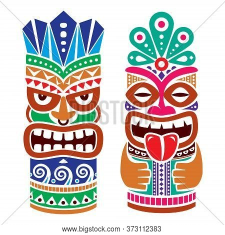 Tiki Pole Totem Vector Color Design - Traditional Statue Decor Set From Polynesia And Hawaii, Tribal