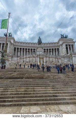 Italy, Rome 01.01,2018 Vittoriano, Monument To King Victor Emmanuel Ii Located On Piazza Venezia, Ro