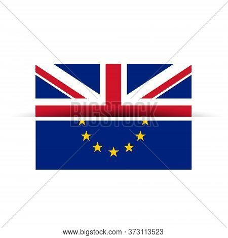 Uk And European Union Flag Getting Separated Vector Design Illustration