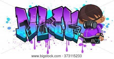 Nick. A Cool Graffiti Name Illustration Inspired By Graffiti And Street Art Culture. Vivid Vibrant C