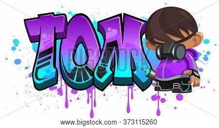 Tom. A Cool Graffiti Name Illustration Inspired By Graffiti And Street Art Culture. Vivid Vibrant Co