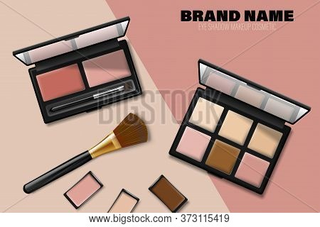 Cosmetics Eyeshadow Palette Ads. Product Placement. Eyeshadow Products And Makeup Brush Isolated In
