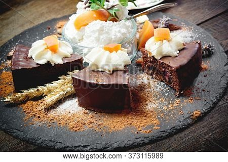 Chocolate Cake With Apricot, Apricot Jam - Marmalade And Whipped Cream