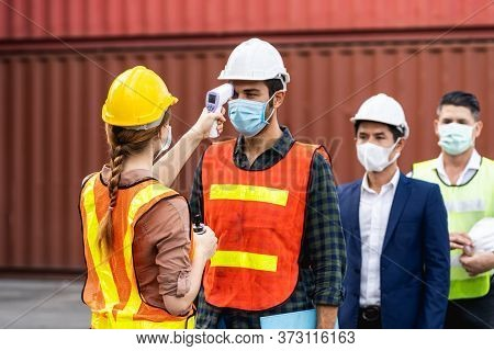 Engineer Worker Waring Surgical Mask Checking Body Temperature Using Infrared Digital Thermometer Ch
