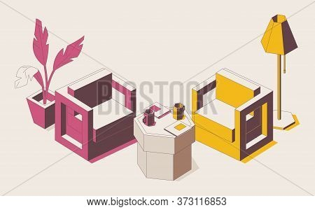 Concept Scene With Furniture Ready For Opponents Discussion. Isometric Chairs In Pink And Yellow.