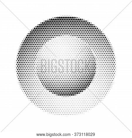 Round Dotted Button In Halftone Isolated On White Background. Settled Variety Black Dot Sphere Diffe