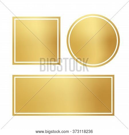 Blank Opaque Shiny Golden Frame Set. Circle, Square, Rectangle Isolated On White Background. Gradien