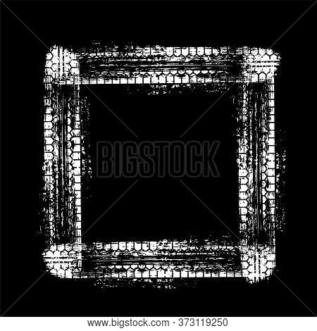White Car Wheel Tire Track Frame In Grunge Square Shape Isolated On Black Background. Tyre Tread Pri