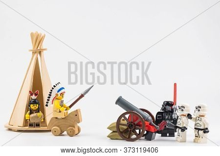 Bangkok, Thailand - April, 29, 2020 : Lego Star Wars Is Shooting Lego Indian With A Cannon On A Whit