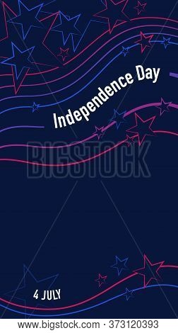 4th July American Independence Day Greeting Card Design Abstract National Lines, Swatches And Stars
