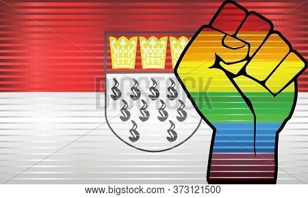 Shiny Lgbt Protest Fist On A Cologne Flag - Illustration,  Abstract Grunge Cologne Flag And Lgbt Fla