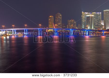 Miami Bayfront Skyline And Port At Night