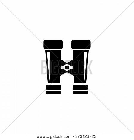 Binoculars, Optical Military Zoom Tool. Flat Vector Icon Illustration. Simple Black Symbol On White