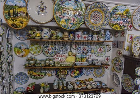 Italy, Florence 04,01,2018 Florentine Ceramics In The Art Shop For Sale