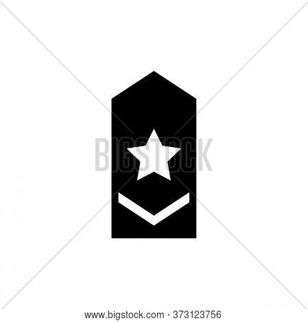 Rank Epaulette, Military Shoulder Badge. Flat Vector Icon Illustration. Simple Black Symbol On White