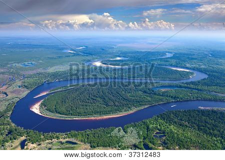 Forest River Under The White Clouds