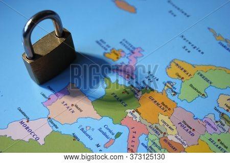 Lockdown Coronavirus Covid-19 Virus Concept Padlock Lock Shadow Across Europe Including Spain, Italy